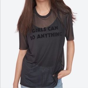 "Garage•Graphic Mesh Tee ""Girls Can Do Anything"""